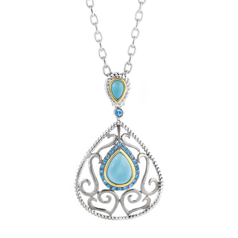 Shula NY Sterling Silver and 14K Yellow Gold Turquoise and Blue Sapphire