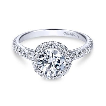 14k White Gold Round Diamond Halo Engagement Ring with Pave Shank