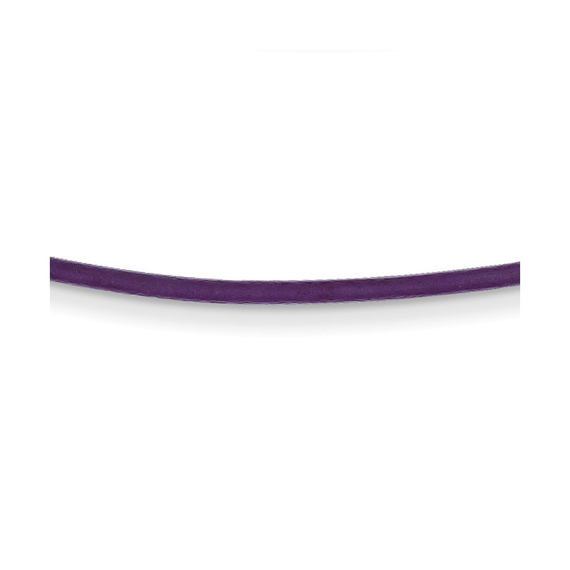 Quality Gold 14k 1.6mm 16in Violet Leather Cord Necklace