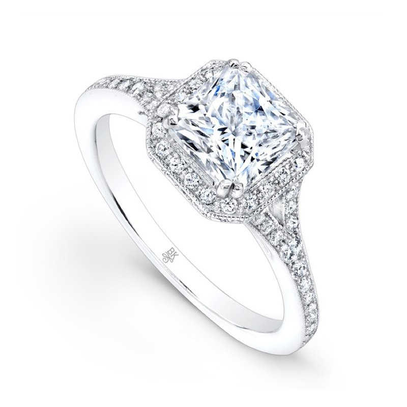 Beverley K Square Halo Split Shank Bridal Ring