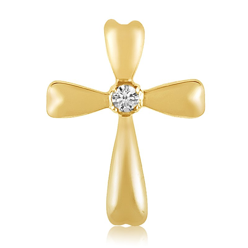 Color Merchants 14K Yellow Gold Diamond Cross Pendant