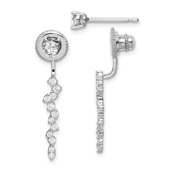 Sterling Silver Rhod-plated CZ Front and Back CZ Dangle Post Earrings