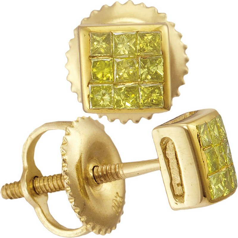 Kingdom Treasures 10kt Yellow Gold Mens Princess Yellow Color Enhanced Diamond Square Earrings 1/4 Cttw