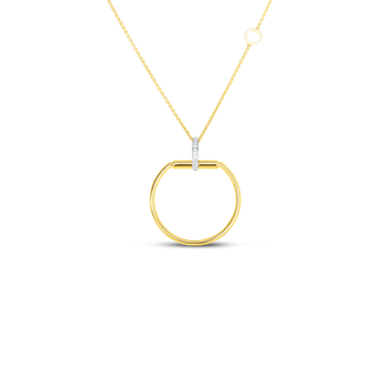 18K Large Stirrup Pendant W. Dia Accent On Long Chain