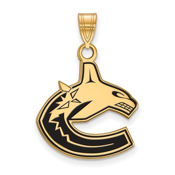 Gold-Plated Sterling Silver Vancouver Canucks NHL Pendant