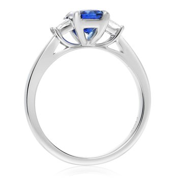 Platinum Prong Set Sapphire & Diamond Ring