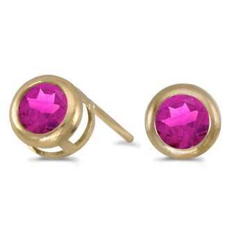 14k Yellow Gold Round Pink Topaz Bezel Stud Earrings