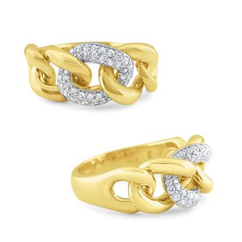 14k Gold and Diamond Bold Cable Link Ring
