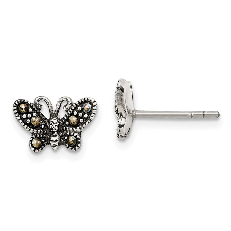 Quality Gold Sterling Silver Antiqued Marcasite Butterfly Post Earrings