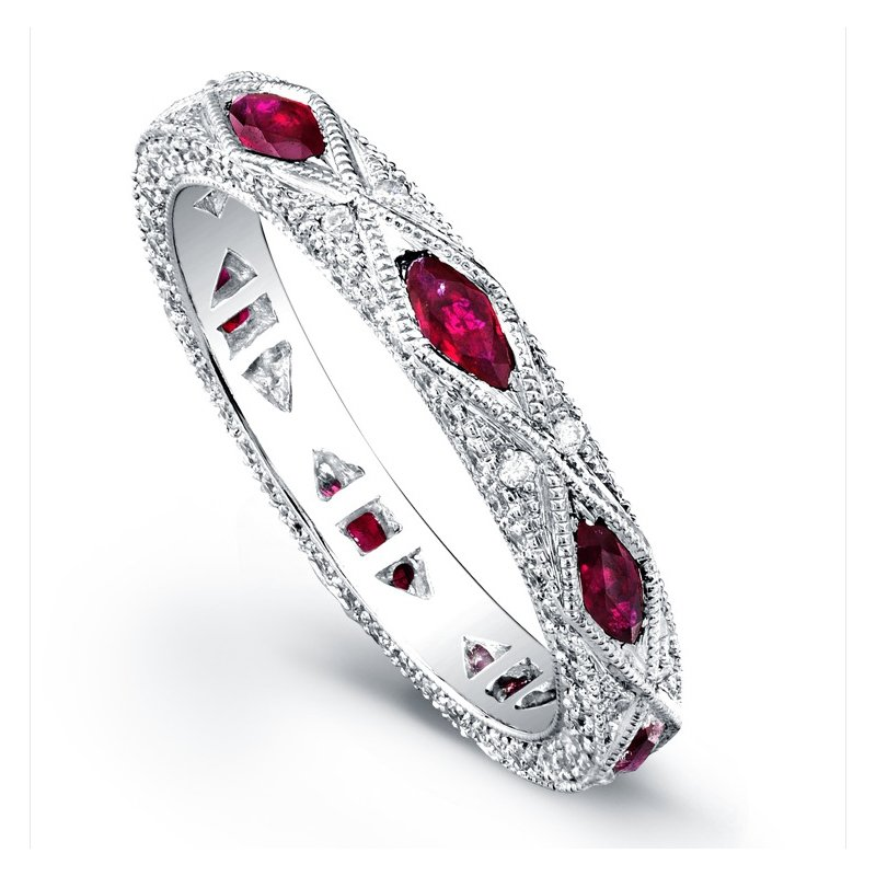 Beverley K Oval Pave Diamond & Ruby Band