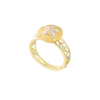 Two Tone Gold Sanddollar Ring