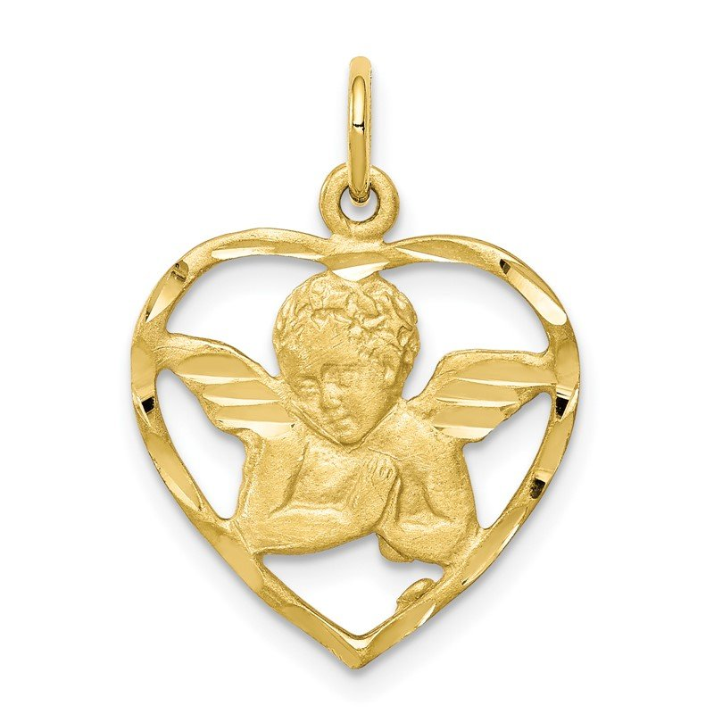 Quality Gold 10K Angel Heart Charm