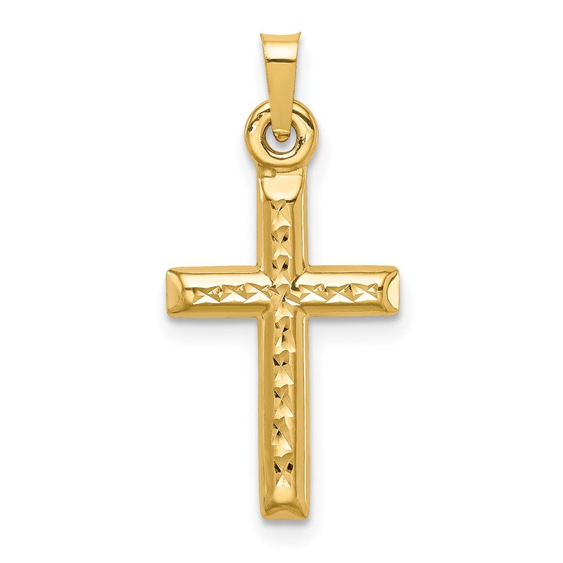 Fine Jewelry by JBD 14k Hollow Diamond-cut Cross Pendant