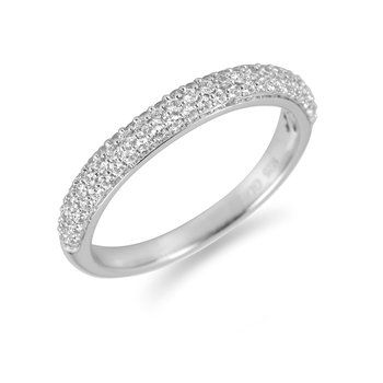18K WG Diamond Wedding Band Pave Setting