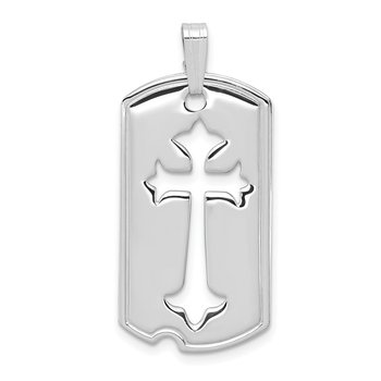 Sterling Silver Rhodium-plated Polished Dog Tag w/Cut out Cross Pendant