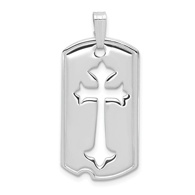 Quality Gold Sterling Silver Rhodium-plated Polished Dog Tag w/Cut out Cross Pendant