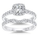 Caro74 Classic Elegance Collection Cushion Halo Engagement Ring in 14K White Gold (1/2ct. tw.)