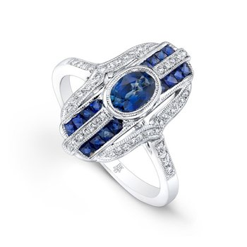 Art Deco Style Elongated Diamond & Sapphire Ring