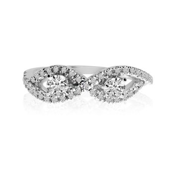 14K White Gold Infinity Two-Stone Diamond Ring