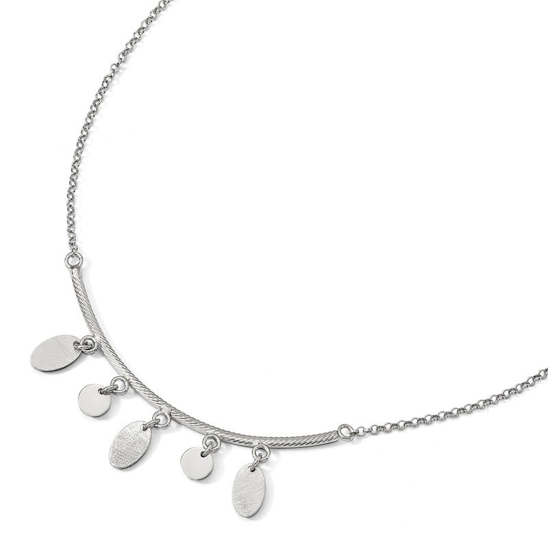 Leslie's Italian Gold Leslie's Sterling Silver Polished Bar w/Circles w/1.5 ext. Necklace