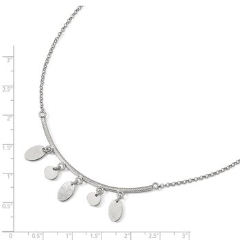 Leslie's Sterling Silver Polished Bar w/Circles w/1.5 ext. Necklace