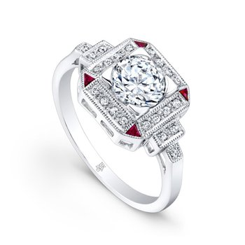 Diamond & Ruby Halo Bridal Ring