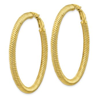 10k 4x40 Twisted Round Omega Back Hoop Earrings