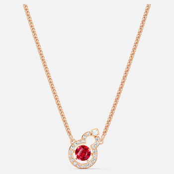 Full Blessing Hulu Necklace, Red, Rose-gold tone plated