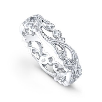 Thin Floral Vine Diamond Band