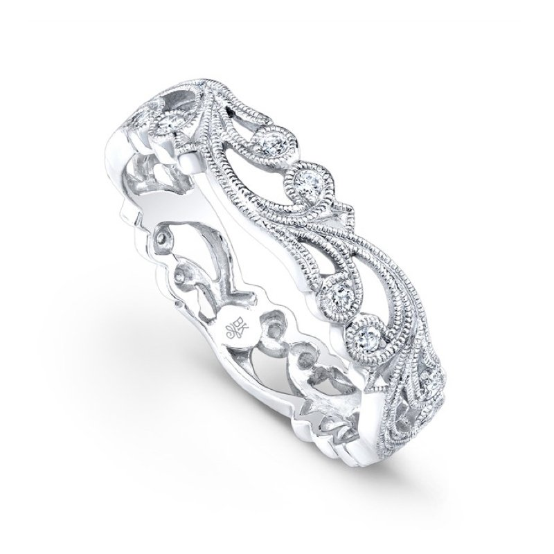 Beverley K Thin Floral Vine Diamond Band