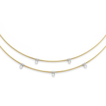 Yellow Cable Layered Necklace with 18kt White Gold & Diamonds