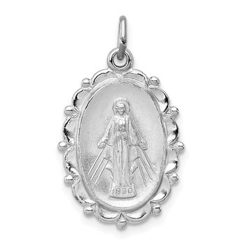 Sterling Silver Rhodium-plated Miraculous Medal