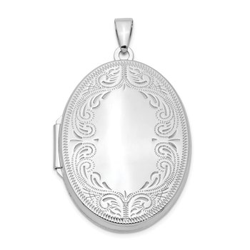 Sterling Silver Rhodium-plated 31mm Oval Scroll Locket