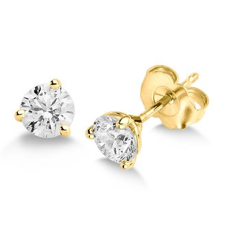 Three Prong Diamond Studs in 14k Yellow Gold Screw-back posts (1ct. tw.)
