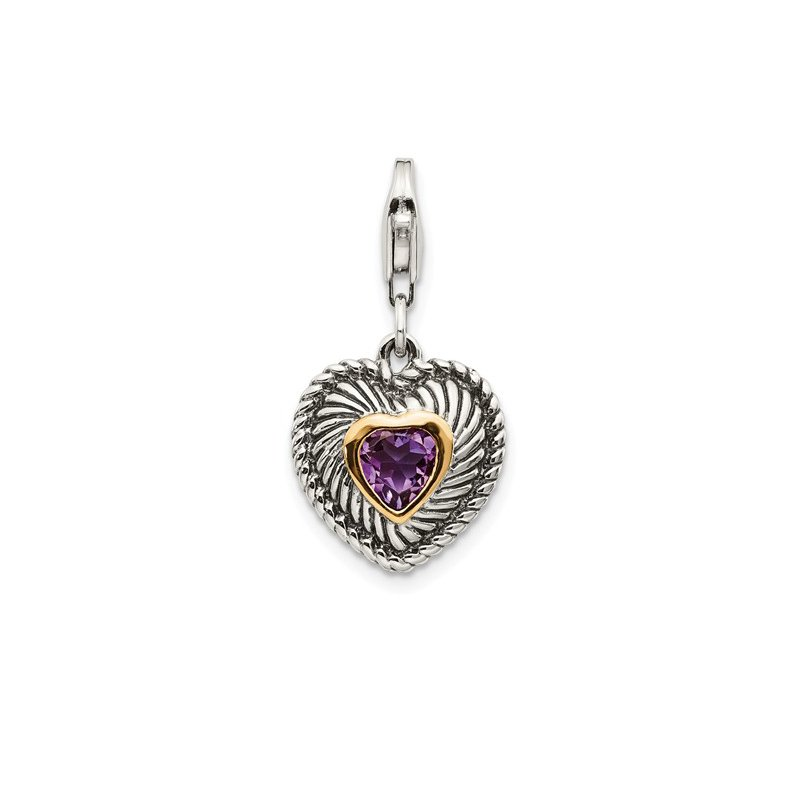 Quality Gold Sterling Silver w/14k Amethyst Antiqued Charm