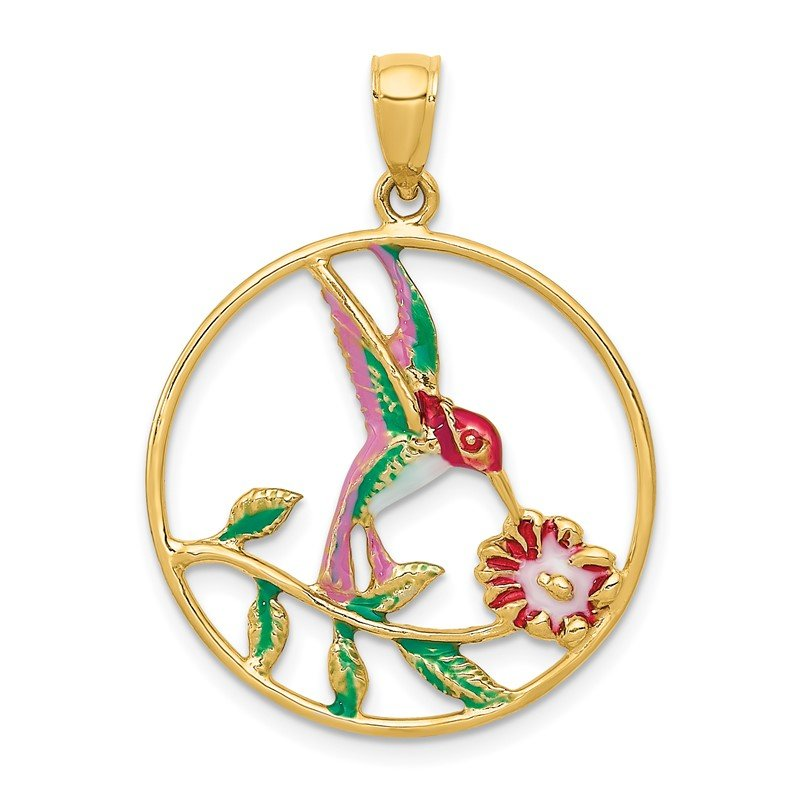 Quality Gold 14K Enameled Hummingbird and Flower in Circle Pendant