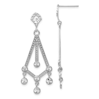 14k White Gold Diamond-cut Chandelier Earrings