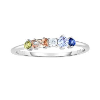 Silver Five Stone Multi Color CZ Stackable Ring