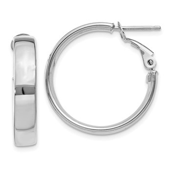 14k 5mm White Gold Omega Back Hoop Earrings