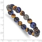 Chisel Stainless Steel Antiqued & Polished Brown/Blue Tiger's Eye Stretch Bracelet