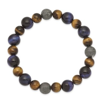 Stainless Steel Antiqued & Polished Brown/Blue Tiger's Eye Stretch Bracelet