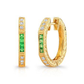 Diamond & Tsavorite Hoops