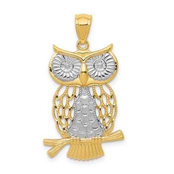 14k w/ Rhodium Diamond-cut Polished Moveable Owl Pendant