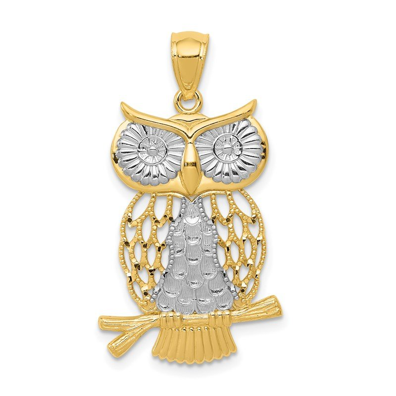 Quality Gold 14k w/ Rhodium Diamond-cut Polished Moveable Owl Pendant