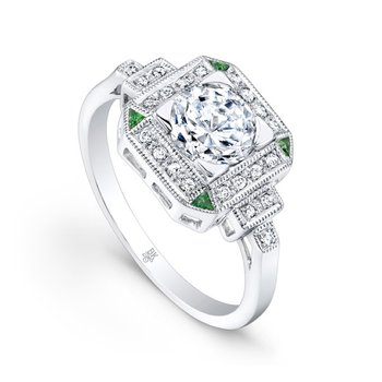 Diamond & Tsavorite Halo Bridal Ring