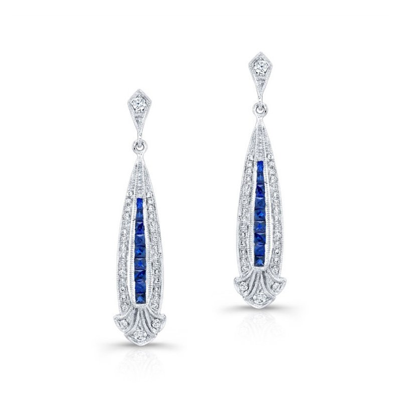 Beverley K Diamond & Sapphire Drop Earrings
