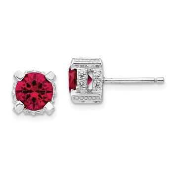 Cheryl M Sterling Silver 6.5mm Lab created Ruby & CZ Stud Earrings
