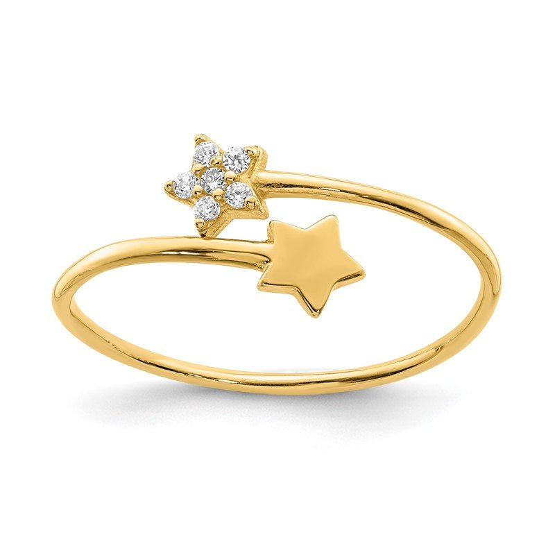 Quality Gold 14K Yellow Gold CZ Star Ring