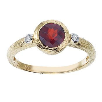 14k Yellow Gold Round Shaped Garnet and Diamond Ring