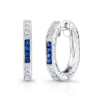 Vintage Sapphire and Diamond Hoops